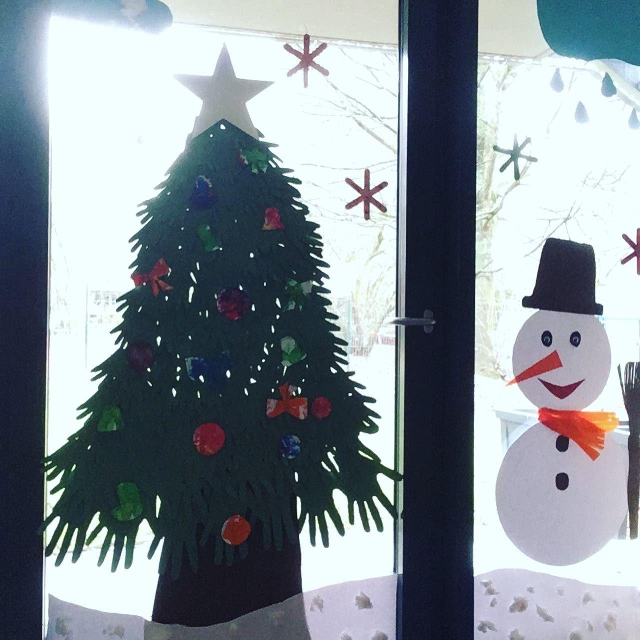 winterdekoration auf fenster  dekoration
