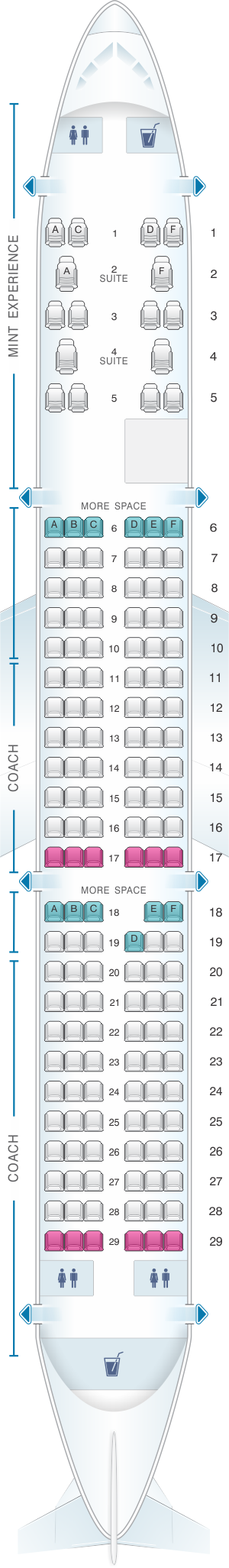Seat Map Jetblue Airways Airbus A321 Config 2