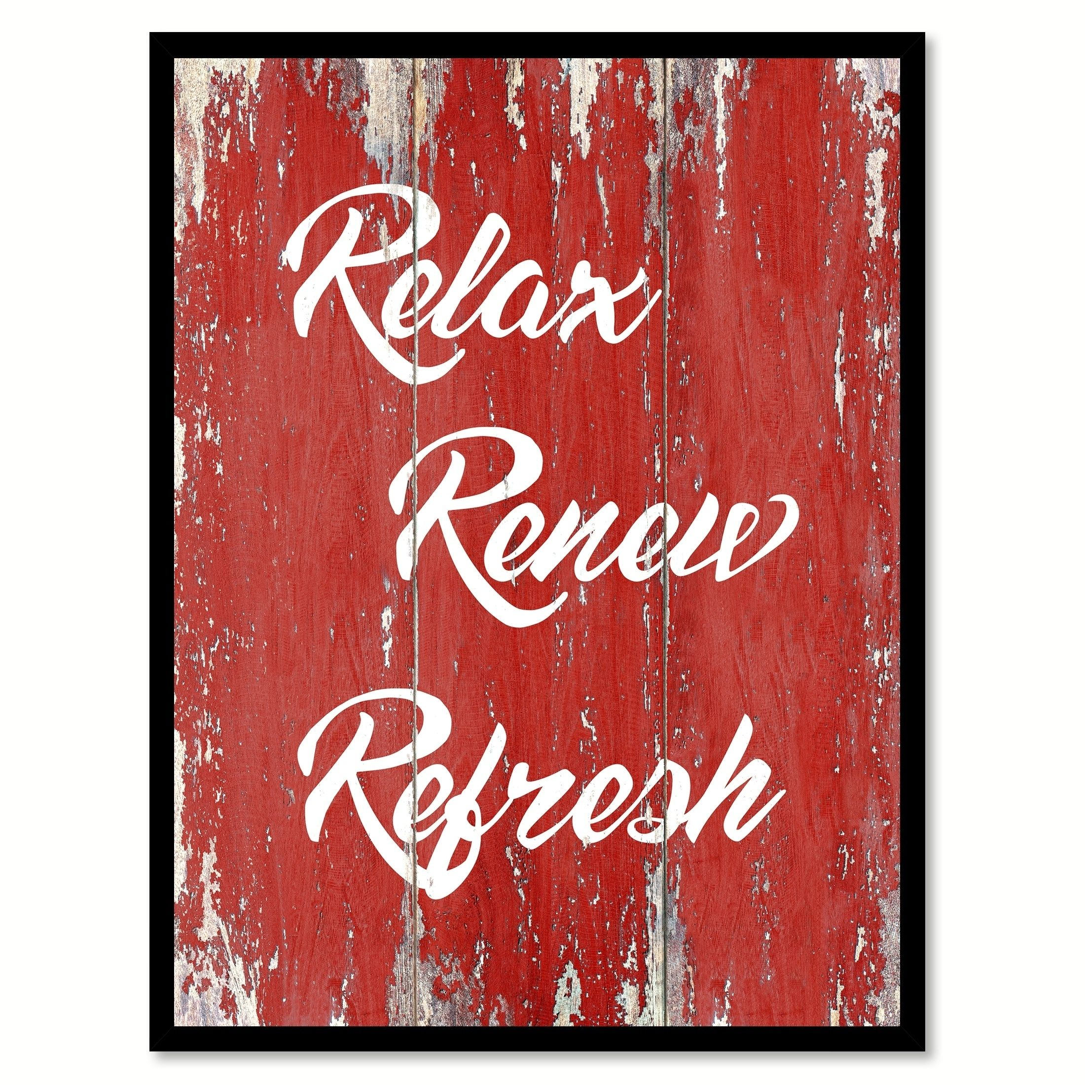 Relax Renew Refresh Motivation Quote Saying Canvas Print Picture Frame Home Decor Wall Art Bathroom Home Decor Wall Art Wall Decor Traditional Wall Decor