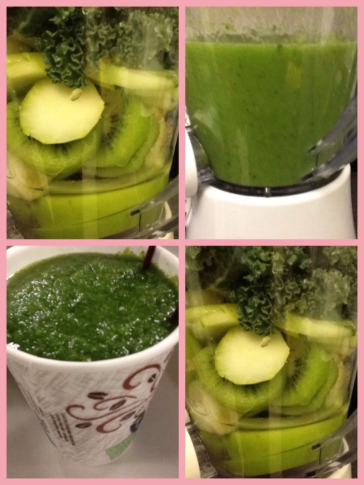 It was a Green Smoothie Morning Today. Granny Smith Apple, Kiwi, Cucumber, Kale, Spring Water, Teaspoon of Brown Sugar. Don't let the look fool you, it's mighty friendly. By UnaBerlinda... So filling that, lunch not until 2pm.