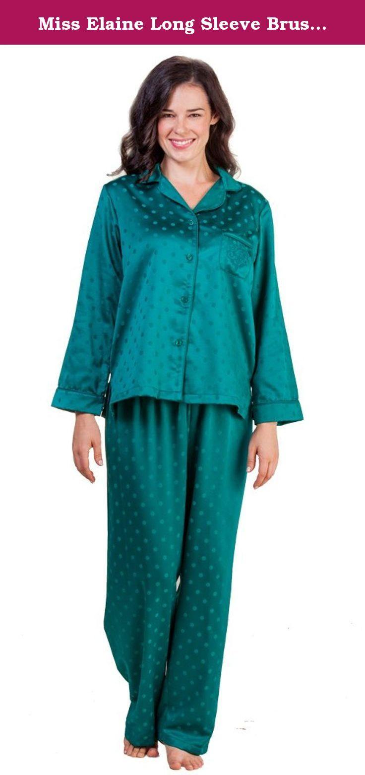 Miss Elaine Long Sleeve Brushed Back Satin Pajamas in Jade Dot X