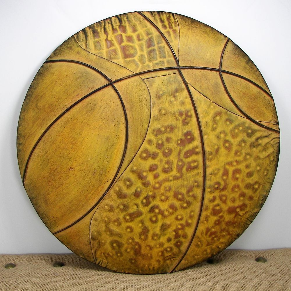 Hobby Lobby Distressed Metal Basketball Wall Plaque Sports