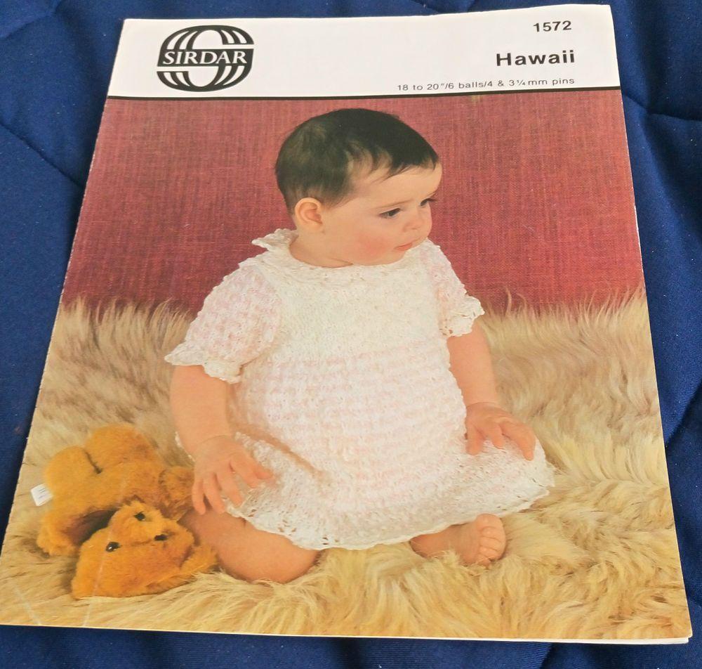 cce1a5c04516 Baby Dress Sirdar   1572 vintage knitting pattern DK yarn