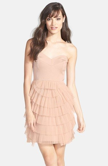 e4d663e9dea BCBG MAXAZRIA BCBGMAXAZRIA Tiered Mixed Media Fit   Flare Dress available  at  Nordstrom