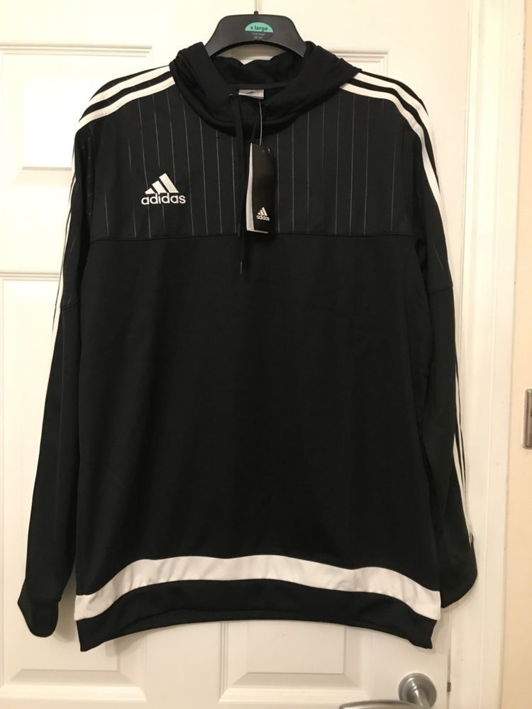 ADIDAS TIRO 15 HOODED TOP BLACKWHITE ADULT BNWT RRP £40