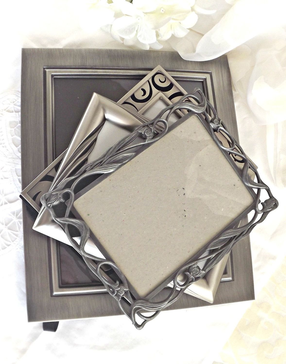 Pewter Frame Lot, Mid Century Modern Decor, Family Photos, Wedding ...