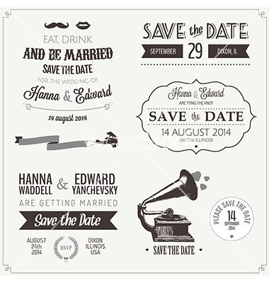 Set of wedding invitation vintage design elements vector on set of wedding invitation vintage design elements vector on vectorstock stopboris Images