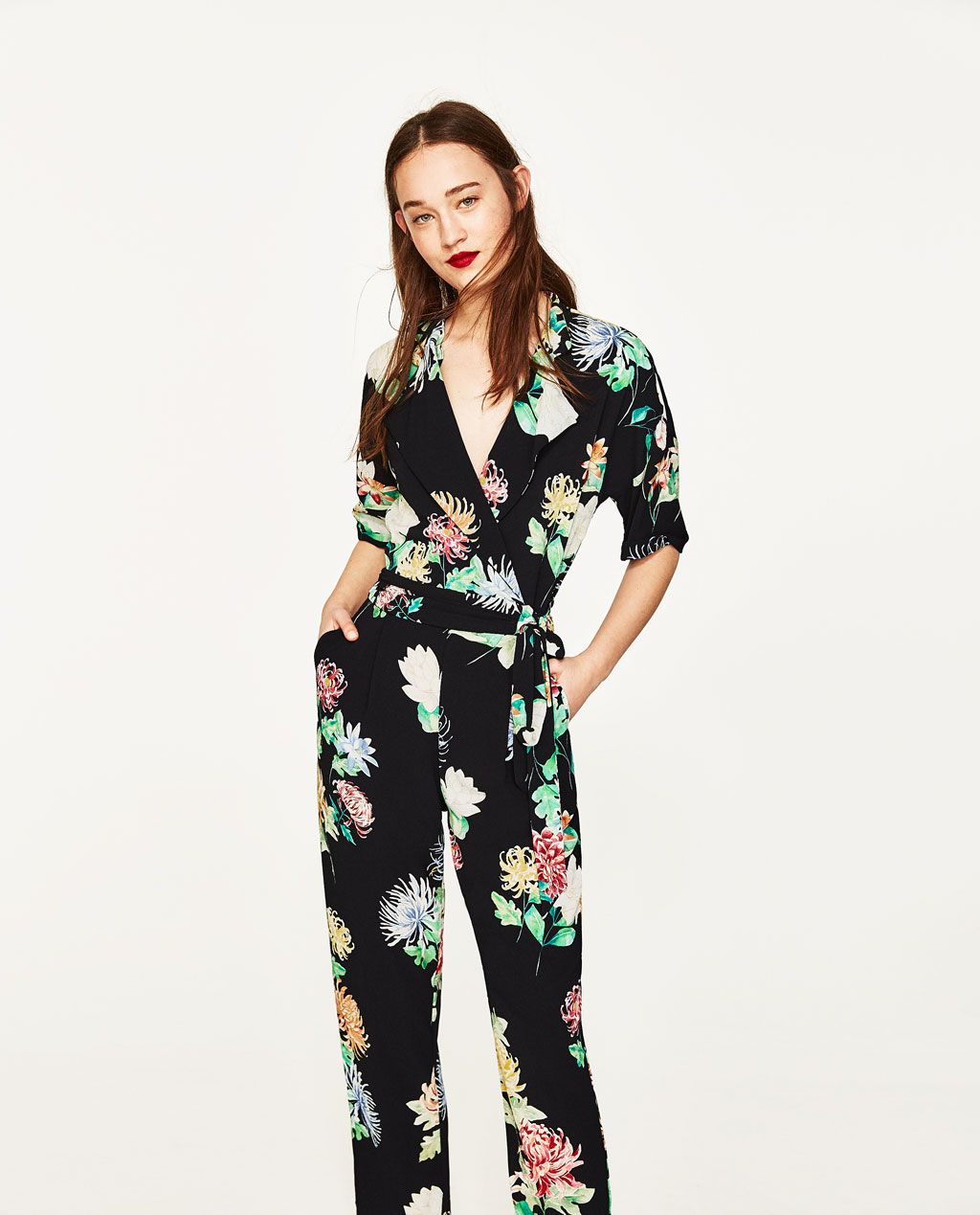 Crossover Print Jumpsuit United Jumpsuits WomanZara States Floral CoWdrxeQB