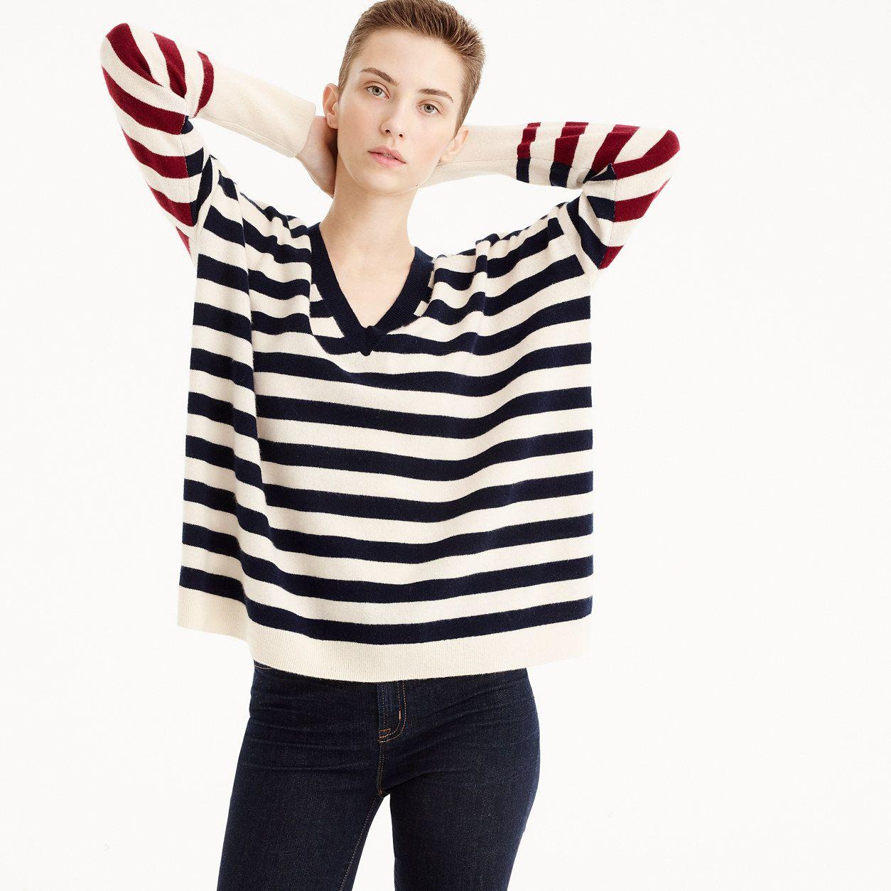 7792db2c8765 J.Crew Womens V-Neck Boyfriend Striped Sweater In Everyday Cashmere ...