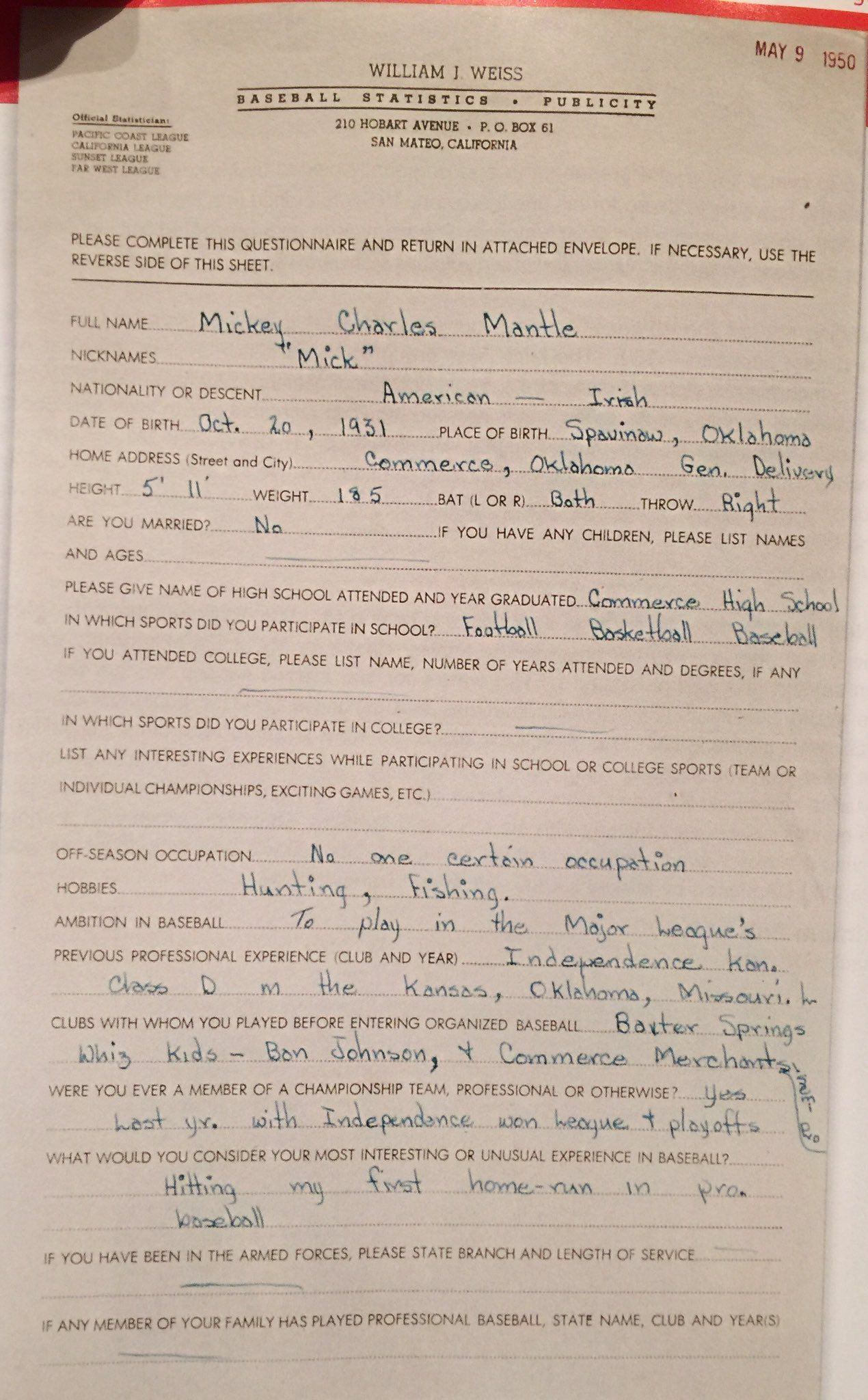 Minor league questionnaire filled out by Mickey Mantle when he was