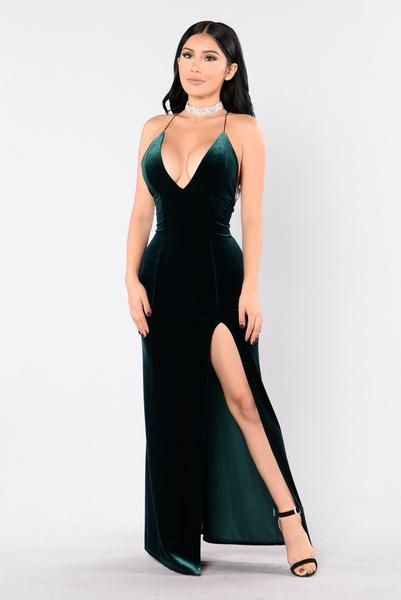 Hunter green maxi dress