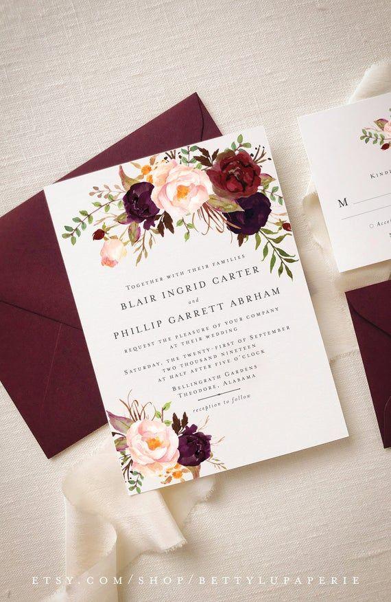Invitation Suite Fall Winter, Fall Wedding Winter Wedding Invitations, Boho Burgundy Wedding Invitation Invite