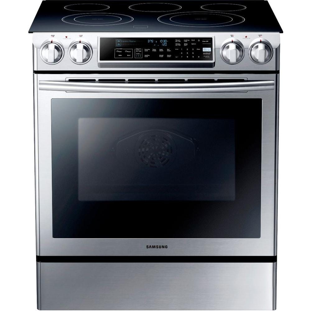 Samsung 5 8 Cu Ft Slide In Electric Range With Self Cleaning Dual Convection Oven In Stainless Steel Ne58f9500ss Electric Range Electricity Electric Double Oven