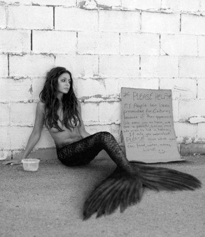 Homeless mermaid. This is so cool