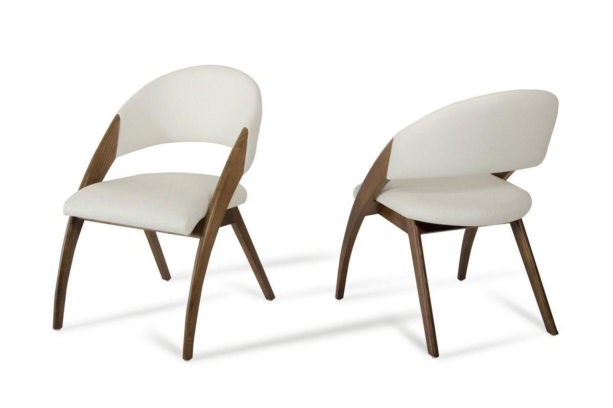 Dining Chairs Modern Modrest Lucas Modern Cream U0026 Walnut