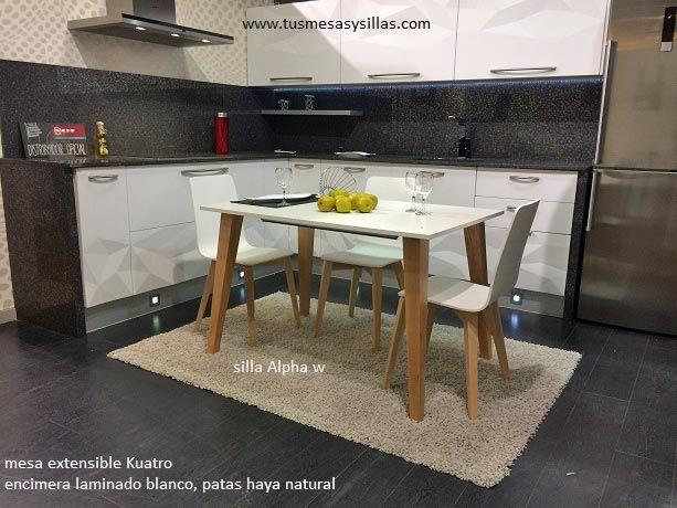 Mesa de cocina o comedor extensible kuatro mesas for Mesas estilo nordico baratas