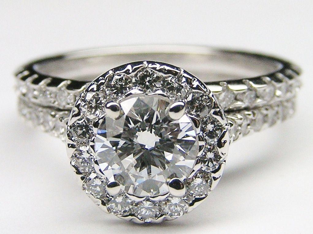 Diamond Halo Cathedral Engagement Ring & Matching Wedding