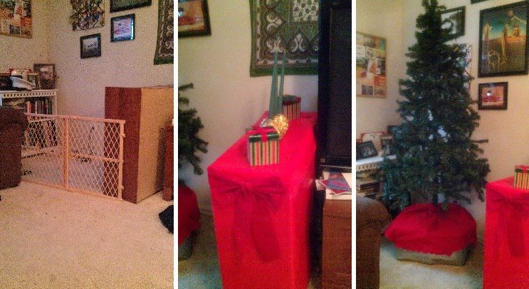 puppy proofing my christmas tree the baby gate works - Baby Gate For Christmas Tree