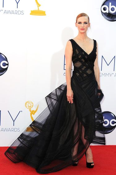 Emmys 2012: The Best of the Red Carpet - January Jones goes high drama in a black full-skirted gown by Zac Posen.