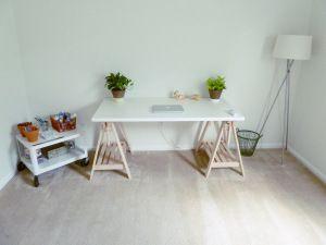 The ikea linnmon finnvard my small art space. art studio