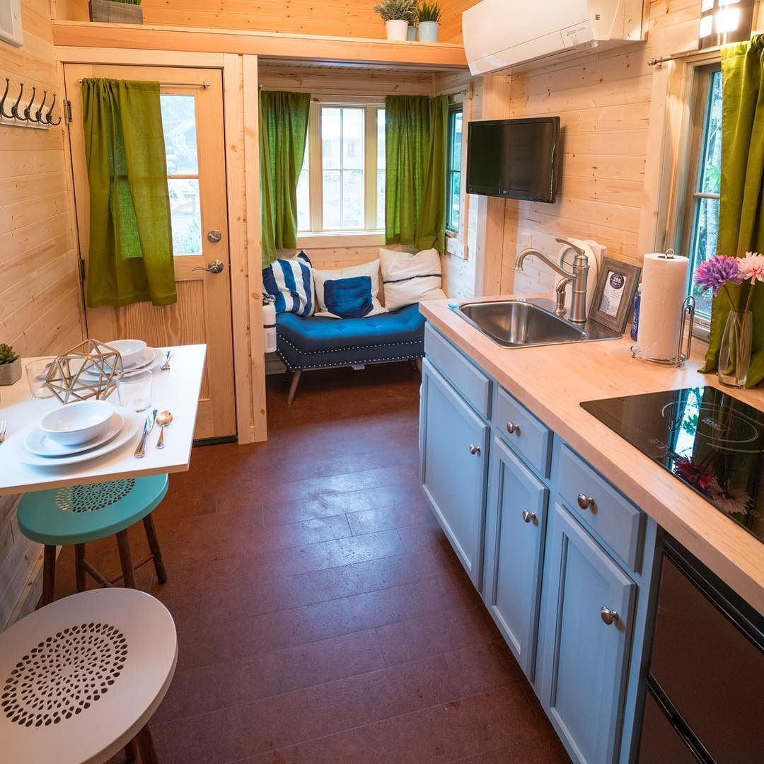 """New article with photos and video of @mthoodtinyhouse village on our website - click the link in our bio! The photo above is an interior shot of their """"Zoe"""" tiny house rental.  Question: What could this do for the #tinyhousemovement ? Answer: Only something positive! A door has been opened!  We look forward to visiting again with our own #tinyhouse this summer!  #tinyhouses #tinyhousevillage #tinyvacationhomes #tinyhousegiantjourney @tumbleweedhouses #tumbleweedhouses #oregon #mthood by…"""