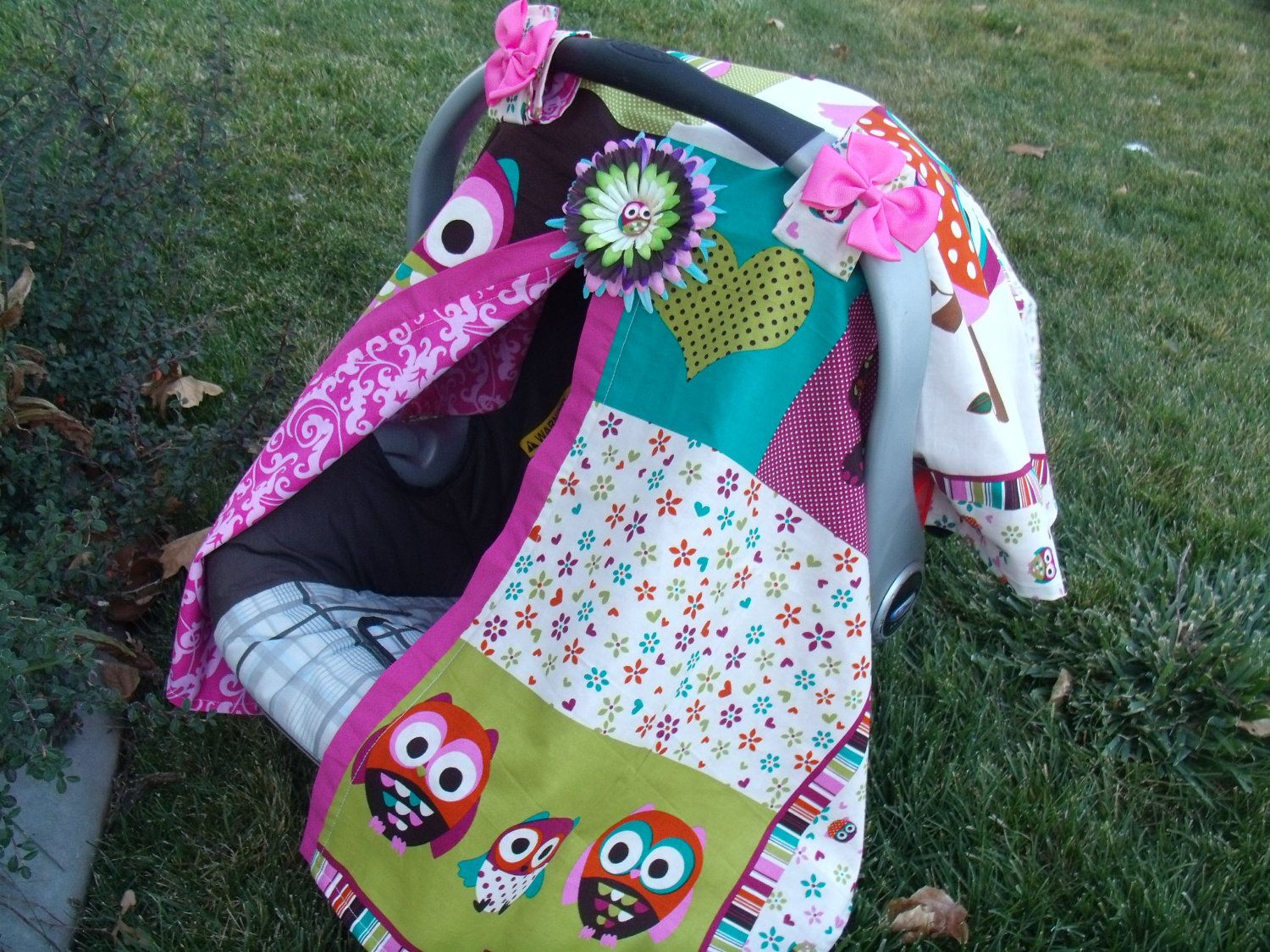 Carseat Cover Canopy Owl Baby Patchwork