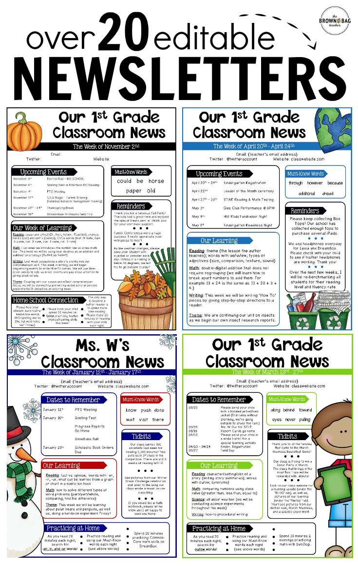 Classroom Newsletter Ideas ~ Editable newsletter templates back to school pinterest