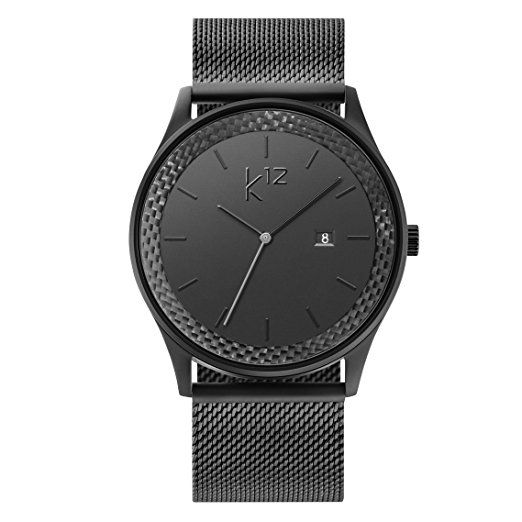 Moderne Uhr k12 black mesh carbon uhr herren schwarz carbon black als