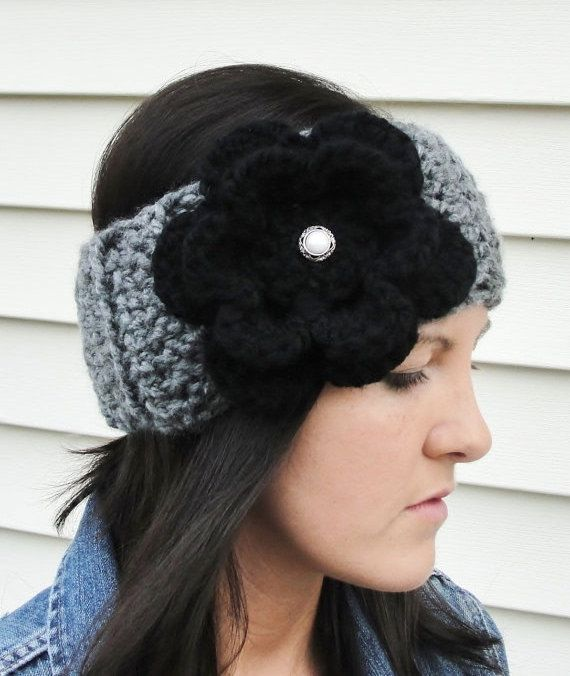 Crochet Ear Warmer/Headband in Charcoal and by LilBumpkinsBoutique ...