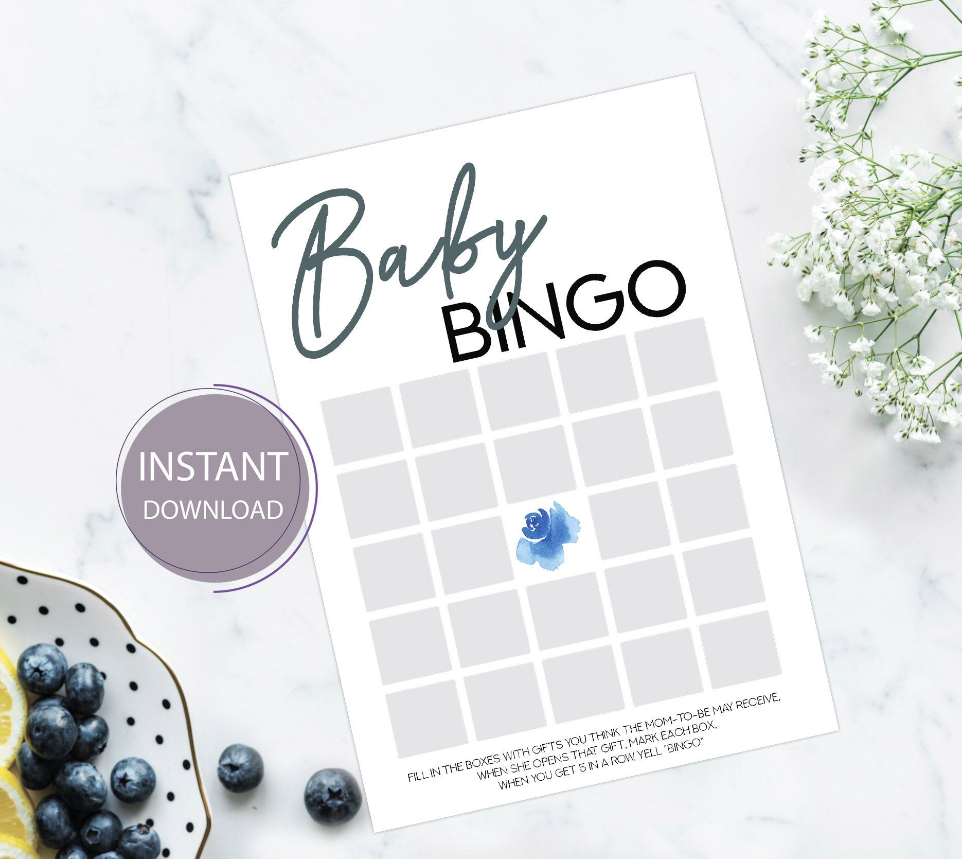 Baby Shower Bingo game, Baby Shower Printable Game Cards, Cloud Baby Shower for boy, PDF Template, Instant Download, Digital