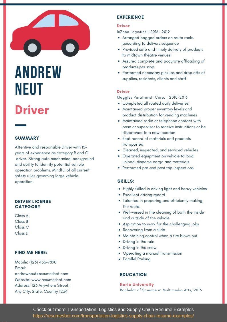 Driver Resume Samples Templates Pdf Doc 2019 Resume Template