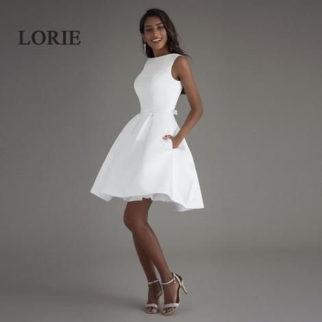 Lorie Short Beach Wedding Dresses 2019 Vestido Noiva Praia Simple New White Real Photo Simple Wedding Dress Short Short Wedding Dress Beach New Wedding Dresses