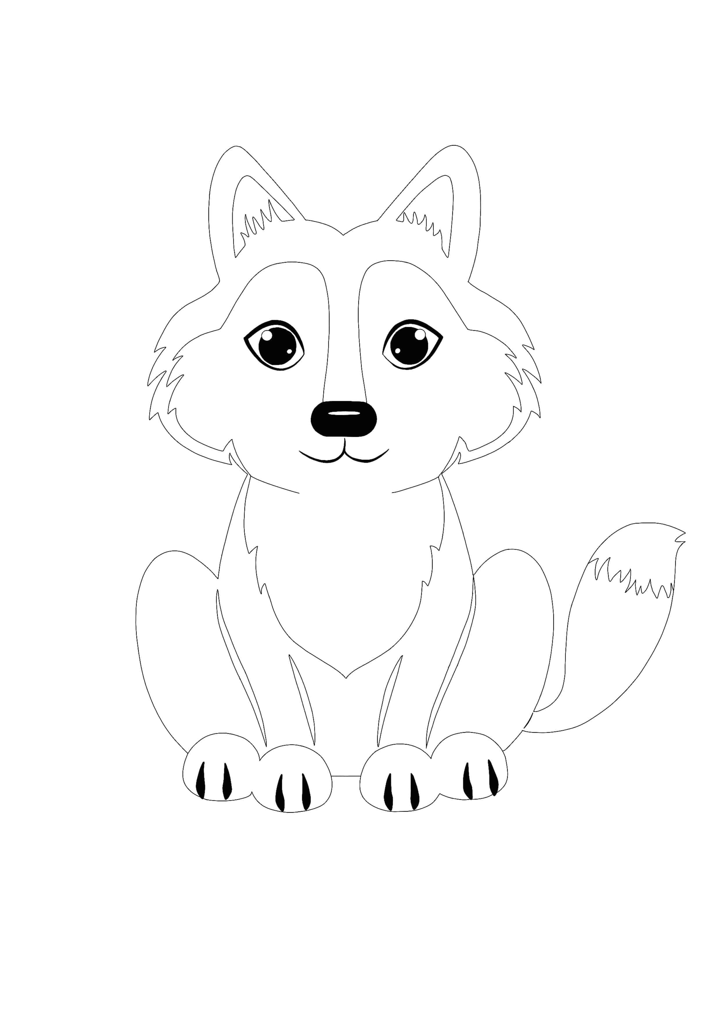 Kawaii Wolf Coloring Page Coloring Pages Wolf Colors Kawaii Animals