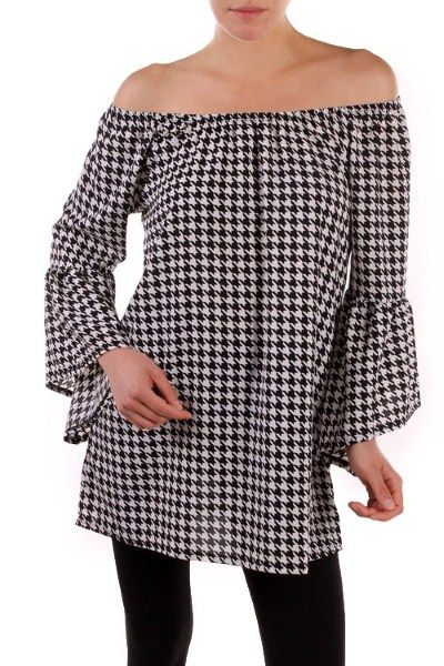 Black/White Houndstooth Bell Sleeve Tunic - Sm to Lg - $46 Houndstooth never goes out of style! Black/White is 20% off today! We're here til 4!