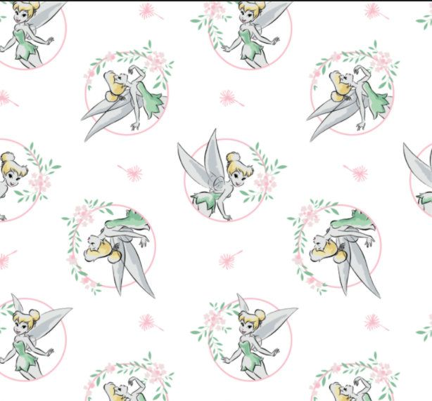 Tinkerbell Fabric / Tinkerbell Floral Frame in White / Tinker Bell ...