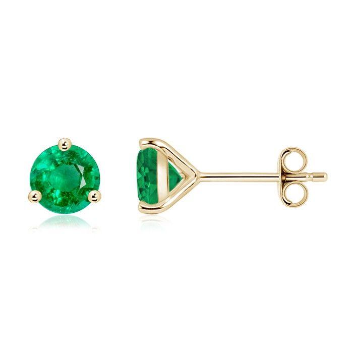 Angara 3 Prong Emerald Stud Earrings in Rose Gold bEKaYsU