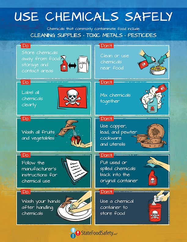 Which Storage Method May Cause Tcs Food To Become Unsafe Extraordinary Use Chemicals Safely Poster  Many Restaurants And Other Food