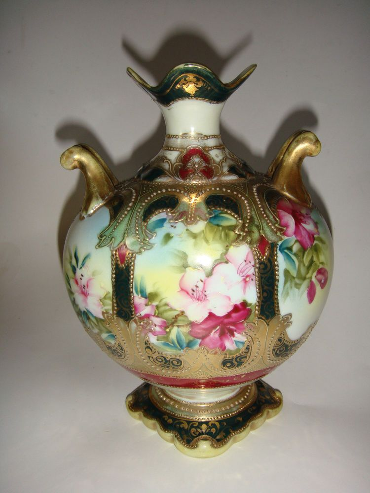 Antique Nippon Hand Painted Vase Floral Gold Beaded Moriage Signed