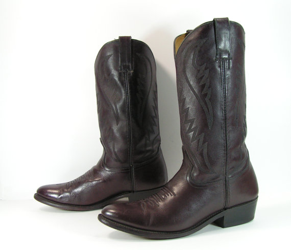 vintage cowboy boots mens 10 D burgundy leather 1980's