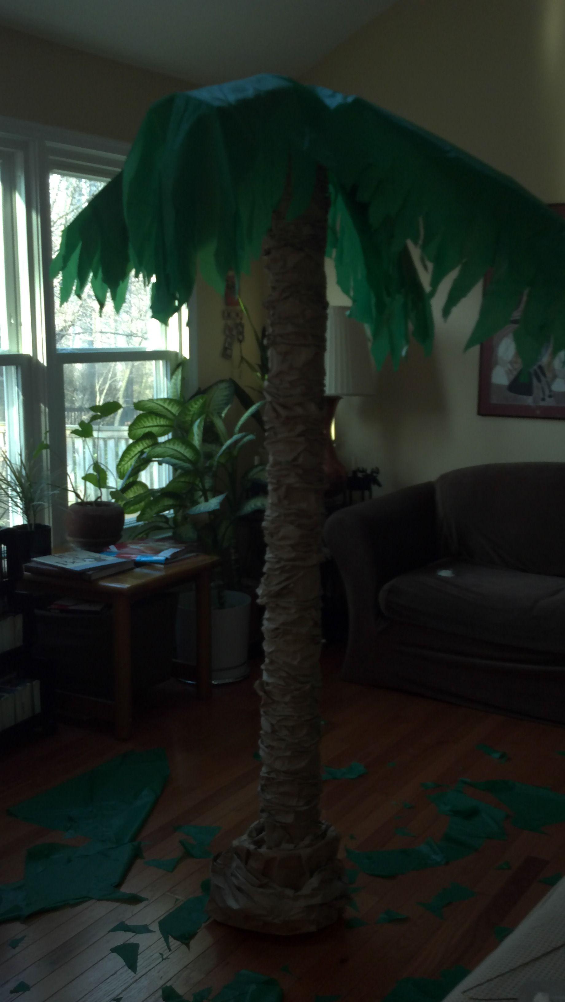 DIY Palm Tree. Circular Plastic Tablecloths Over Hanger U0026 Cardboard Frond  Frame, Trunk Cardboard