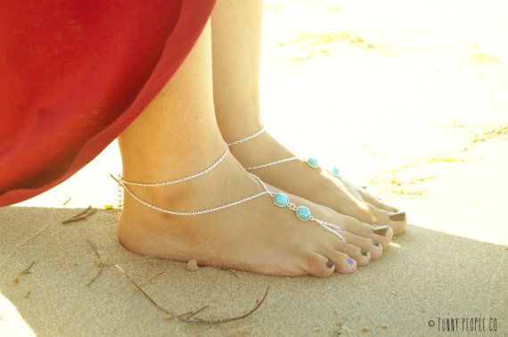 Barefoot Sandals Footless Sandals Anklet Toe Ring door FunnyPeopleCo, $19.00