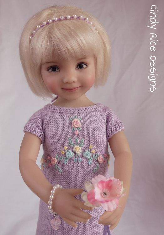 """""""My Favorite Roses"""", a hand knit and embroidered sweater dress ensemble made for Dianna Effner's Little Darlings."""