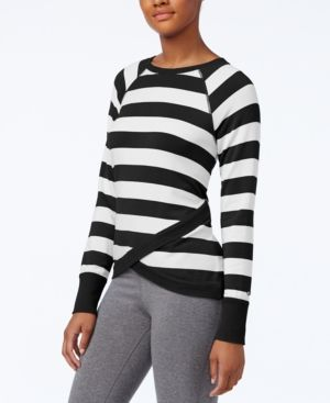 Tommy Hilfiger Sport Crossover-Hem Striped Top, A Macy's Exclusive Style - Black L