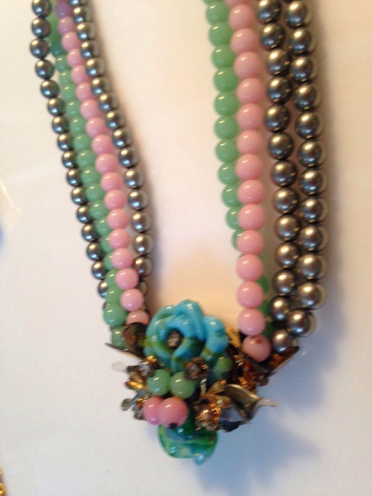 Vintage Glass Plastic Bead Necklace Choker Multi Strand Mid Century Ebay Beaded Necklace Necklace Plastic Beads