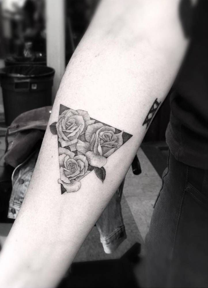 Fine Line Triangle With Three Roses On The Right Inner Forearm