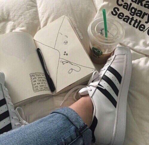 adidas, grunge, and starbucks image