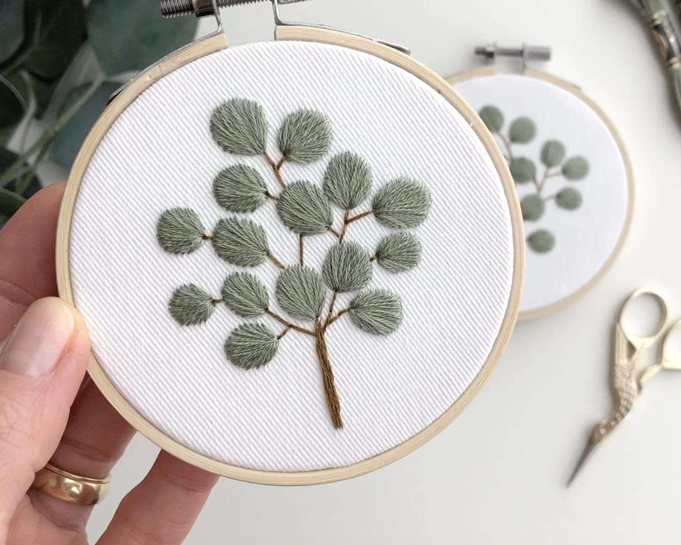 Eucalyptus leaves cross stitch  – home sew