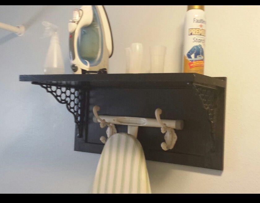 Ironing Board Hanger Hooks On Wood Shelf Laundry Room Design Ironing Board Hanger Diy Closet