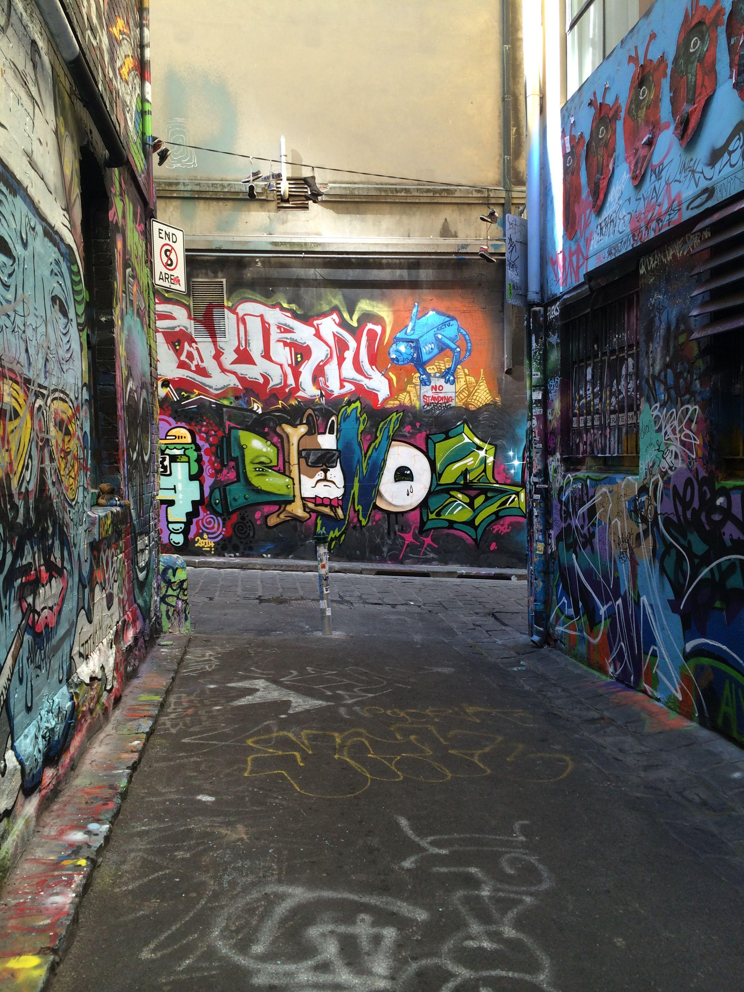 Graffiti art on hosier lane in melbourne australia
