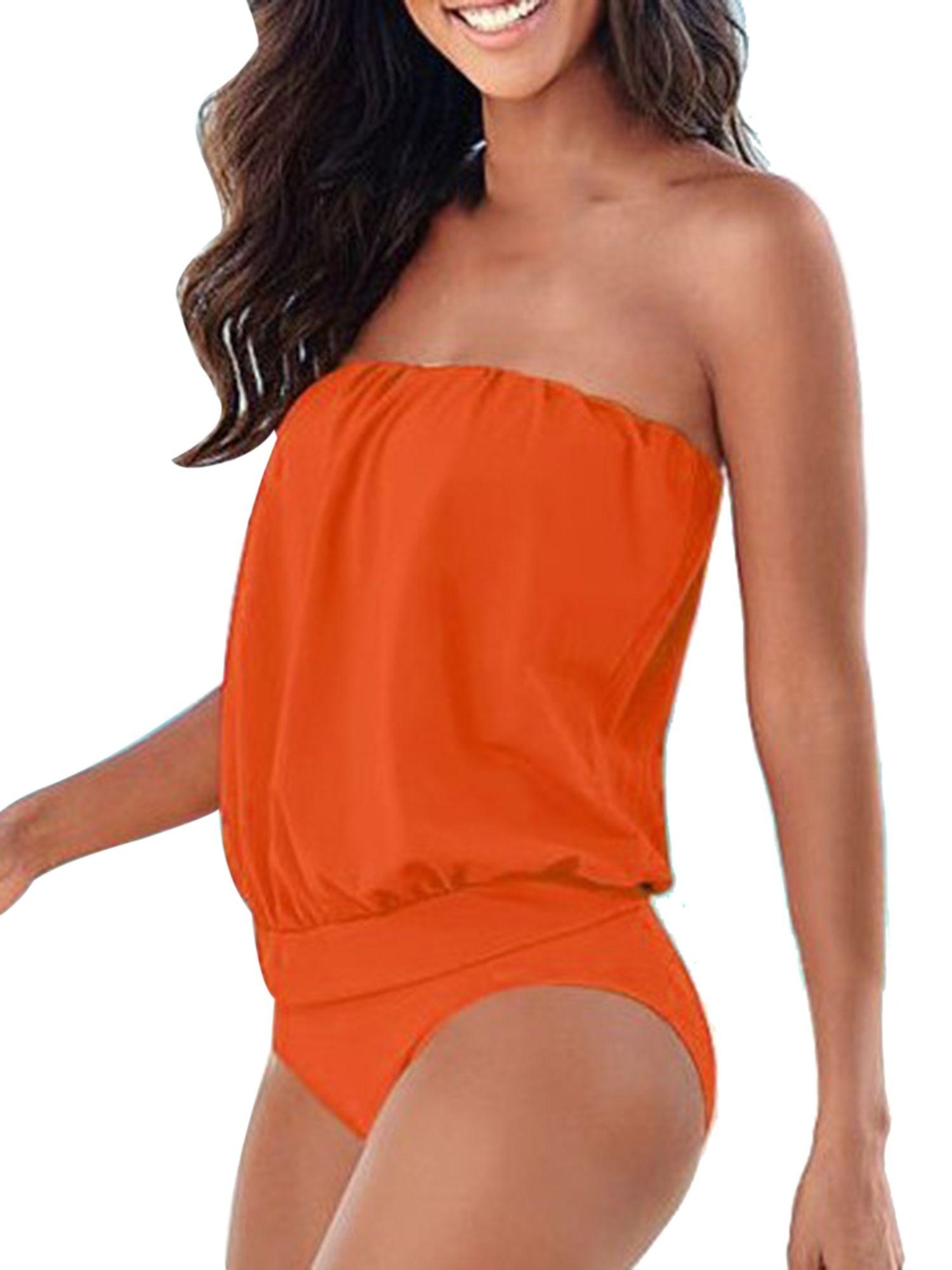 Summer Women Swimwear Beachwear One Shoulder One-piece Bathing Suit Waist Thong Swimsuit Plus size Dress